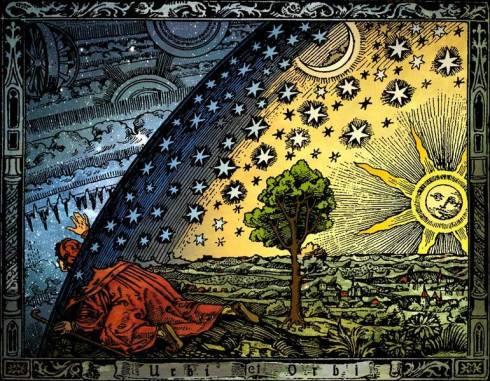 """Holzschnitt aus Camille Flammarion's """"L'atmosphère: météorologie populaire"""""""